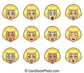 vector, set, spotprent, emoties, van een vrouw