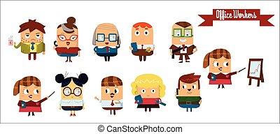 vector, set, spotprent, karakters, digitale