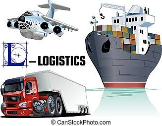 vector, set, spotprent, vervoeren