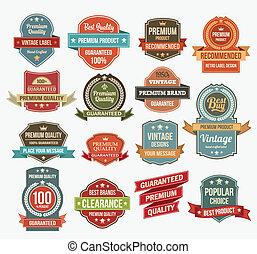 vector, set, stickers, retro, etiket