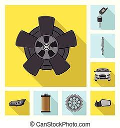 vector, set, stock., auto onderdeel, ontwerp, auto, icon.,...
