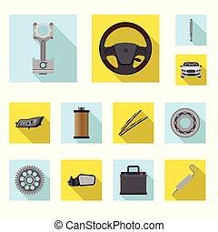 vector, set, stock., auto, symbool., deel, ontwerp, auto,...