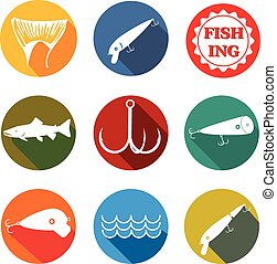 vector set symbols for fishing with baits, tail, fish, hook on round background