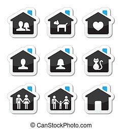 vector, set, thuis, gezin, iconen