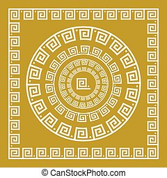 Vector set Traditional vintage golden square and round Greek ornament Meander and floral pattern on a black background