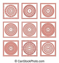 Vector set Traditional vintage golden square and round Greek ornament Meander pattern on a red background greece art