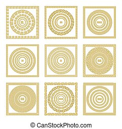 3c3a5e07ccd3 Vector set Traditional vintage golden square and round Greek ornament  Meander border greece gold
