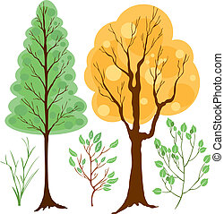 vector set trees and branches color - Is a EPS Illustrator...