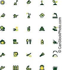 vector, set, tuinieren, pictogram