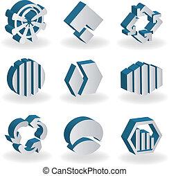 vector, set, van, 3d, symbolen