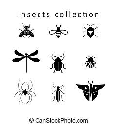 vector, set, van, anders, insecten