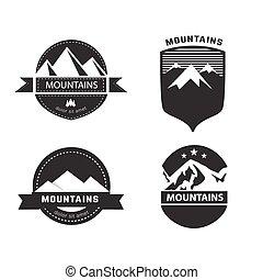 vector, set, van, berg, etiketten, en, badges.