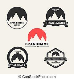 vector, set, van, emblems, geassocieerd, met, bergen