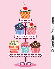 vector, set, van, fruit, en, chocolade, cupcakes, op, een, stander