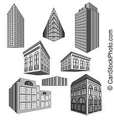 vector, set, van, gebouwen