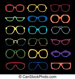 vector, set, van, gekleurde, glasses., retro, geek, hipster, frames.
