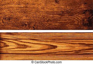 vector, set, van, houten, banieren
