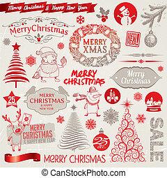 vector, set, van, kerstmis, tekens & borden