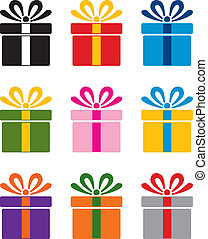 vector, set, van, kleurrijke, giftdoos, symbolen