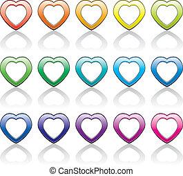 vector, set, van, kleurrijke, hart, symbolen