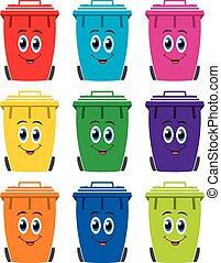 vector, set, van, kleurrijke, plat, recycling, bak wheelie, iconen