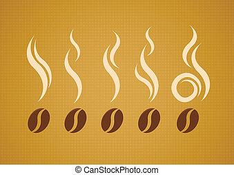 vector, set, van, koffie bonen, met, stoom