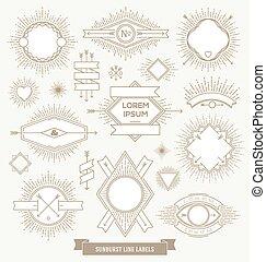vector, set, van, lijn, ontwerp, embleem