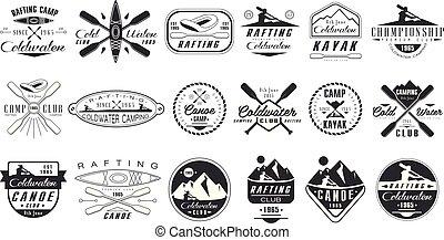 vector, set, van, monochroom, logos, voor, coldwater, club., kano, kamp, emblems., extreem, water, sport., ouderwetse , rafting, badges., buiten, activity., ontwerp, voor, poster, t-shirt, afdrukken