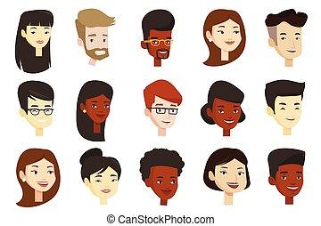 vector, set, van, multicultureel, vrouwen, en, men.