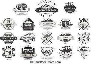 vector, set, van, ouderwetse , logos, voor, ski, club., snowboarden, championship., monochroom, emblems, van, tournament., extreem, winter, sport., berg, camping., openluchtactiviteit