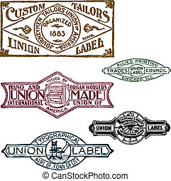 vector, set, van, retro, unie, postzegels