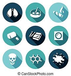 vector, set, van, smoking, en, kanker, icons., longen,...
