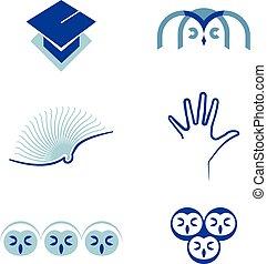 vector, set, van, symbolen, opleiding