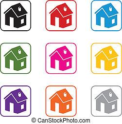 vector, set, van, thuis, symbolen