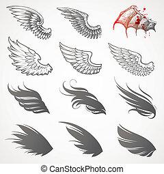 vector, set, van, vleugels