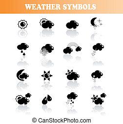 vector, set, van, weer, symbolen