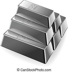 vector, set, van, zilveren staven