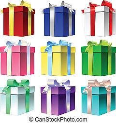 Vector set varicolored gift box with ribbon bow