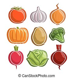 Vector Set Vegetables simple Logo