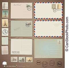 vector, set:, vendimia, postal, diseños, sobres, y, stamps.