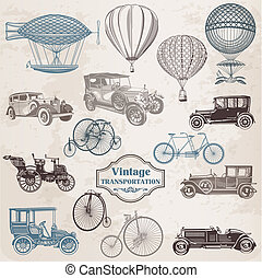 vector, set:, vendimia, transporte, -, colección, de, pasado de moda, ilustraciones