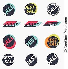 vector, set, verkoop, signs.