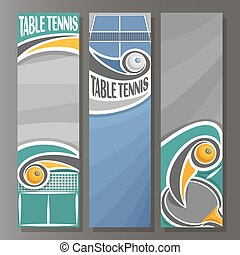 Vector set Vertical Banners for Table Tennis: 3 template for...