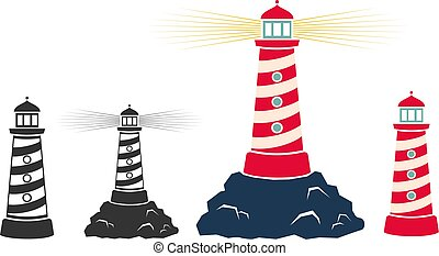 Vector set vintage icons of a lighthouse