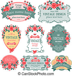 Vintage labels - Vector set. Vintage labels with flowers.