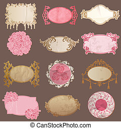 Vector Set: Vintage Paper Frame collection - various tags ...