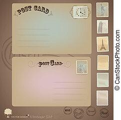 Vector set: Vintage postcard designs and stamps.