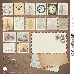 Vector set: Vintage stamp designs, envelope and postcard.