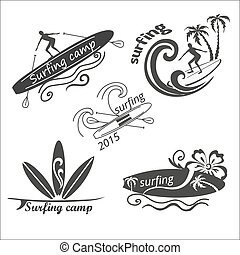 Vector set vintage surf labels
