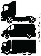 vector, set, vrachtwagens